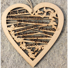 The Lord Bless You Wooden Hanging Heart