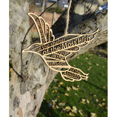 Psalm 91 In The Shelter Wooden Hanging Bird