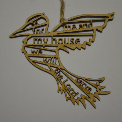 As For Me and My House Wooden Hanging Bird