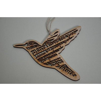 For I Know the Plans Wooden Hanging Bird