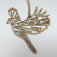 Trust in the Lord Wooden Hanging Bird