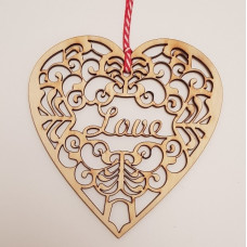 Wooden Hanging Laser Cut Heart Love