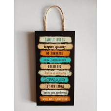 Family Rules Black and Orange Plaque Small