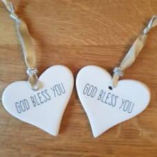 God Bless You Ceramic Heart