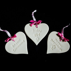 Baby Girl Ceramic Heart