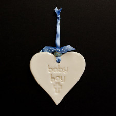 Baby Boy Ceramic Heart