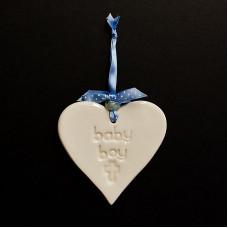 Baby Boy Ceramic Heart