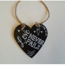 Love Never Fails Hanging Heart