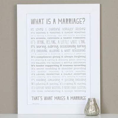 What is a Marriage? A4 Verse Print Unframed