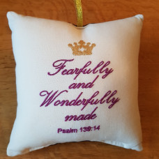 Embroidered Cushion - Fearfully And Wonderfully Made