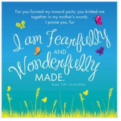Pack of Four Notecards - I Am Fearfully And Wonderfully Made