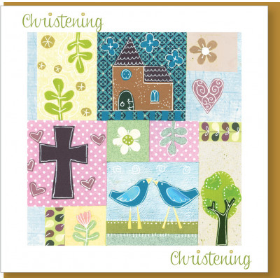 Christening Card Patchwork Birds