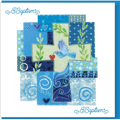 Baptism Blue Cross Card