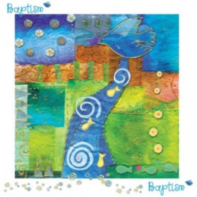 Baptism Colourful River Card
