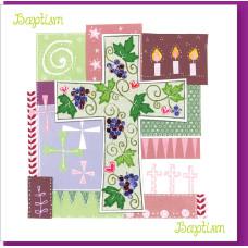 Baptism Vine Pink Card