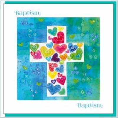 Baptism Card - Cross Of Hearts