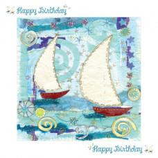 Happy Birthday Sailing Boats Card