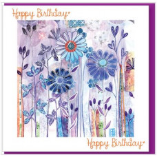 Happy Birthday Card - Purple Flowers