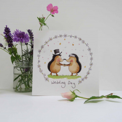 Wedding Day Card Hedgehogs