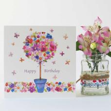 Happy Birthday Card Floral Tree
