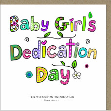 Baby Girl's Dedication Day Card Colourful