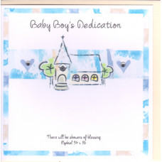 Baby Boy's Dedication Card Church and Hearts