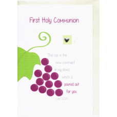 First Holy Communion Card with Grapevine