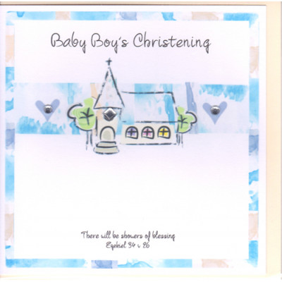 Baby Boy's Christening Card Church and Hearts