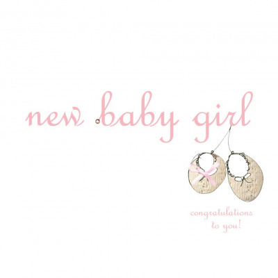 New Baby Girl Card - Bootees