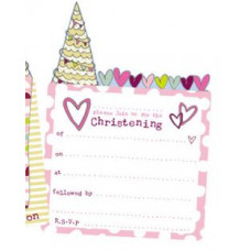 Christening Invitation Pack Pink