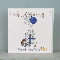 Large Christening Card Blue
