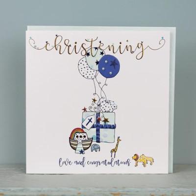 Large Christening Card Blue