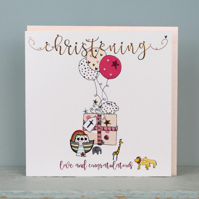 Large Christening Card Pink