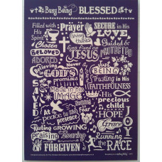 Busy Being Blessed Greetings Card Purple