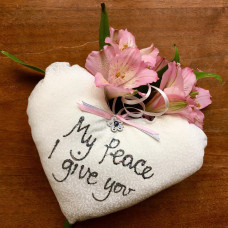 My Peace I Give You Heart Pillow