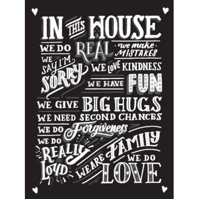 In this House Metal Sign B/W Small