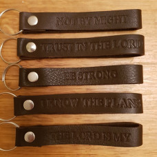 Brown Leather Keyring With Bible Verse