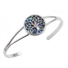 Tree Of Life Paua Shell Bangle