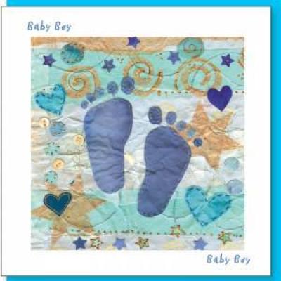 New Baby Card - Blue Feet
