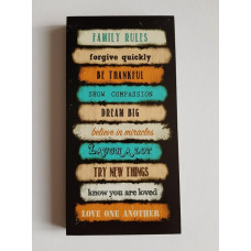 Family Rules Canvas Plaque Black and Orange Large