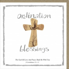 Ordination Blessings Card Wooden Cross