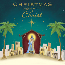 Christmas Card 10 Pack - Christmas Begins With Christ
