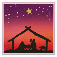 Christmas Card 10 Pack - Stable Silhouette
