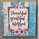 Thankful Grateful Blessed Canvas Plaque Blue