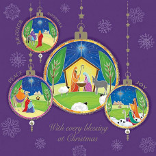 Christmas Cards 10 Pack Nativity Baubles