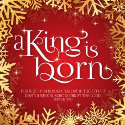 Christmas Cards 10 Pack - A King Is Born Red & Gold
