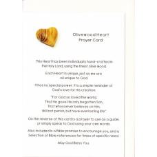 Olivewood Heart Prayer Card