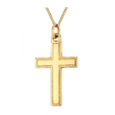 Bead edged rolled Gold Cross Necklace