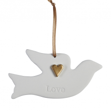 Ceramic Dove LOVE With Gold Heart