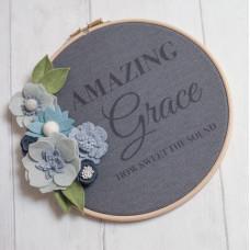 Amazing Grace Felt Flowers Embroidery Hoop